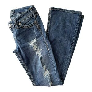 Silver Jeans Pioneer Flap Bootcut Distressed 26